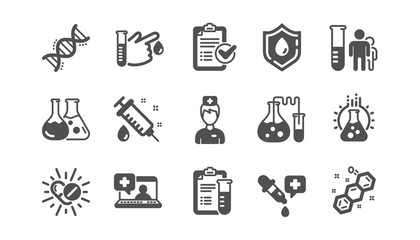 Medical healthcare, doctor icons. Drug testing, scientific discovery and disease prevention icons. Chemical formula, chemistry testing lab. Classic set. Quality set. Vector