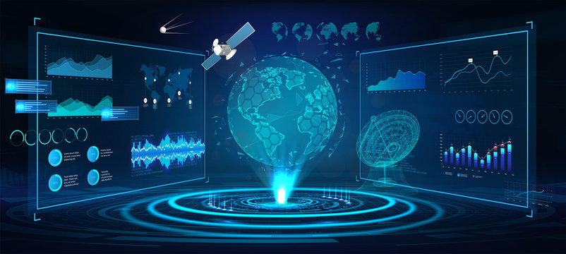 Futuristic Earth globe hologram and HUD interface panels, with 3D antenna and satellites. Сontrol center dashboard. Earth globe hologram with sci-fi interface. Vector illustration
