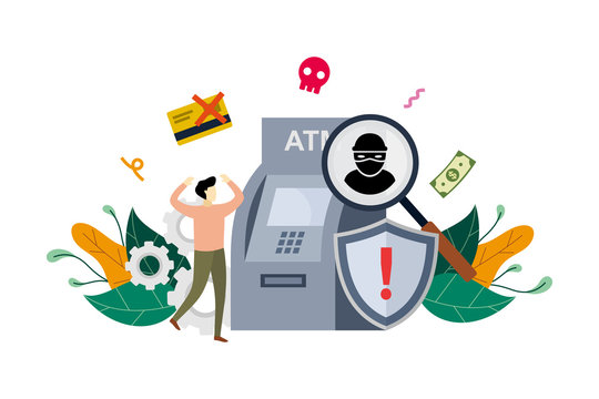 ATM cyber crime concept, robber hack an ATM, hacking detected, phishing alert messages with small people vector flat illustration, suitable for background, banner, ui, ux
