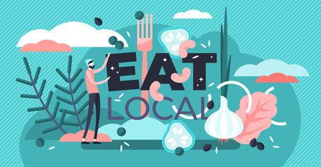 Eat local vector illustration. Flat tiny encouragement sign persons concept
