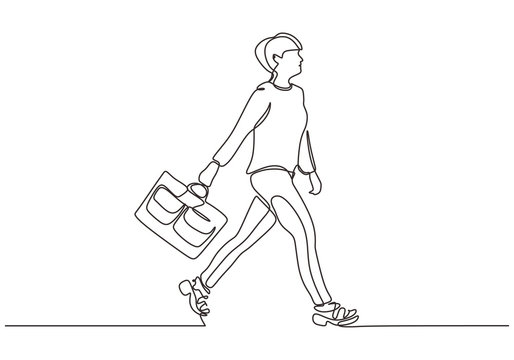 Continuous one line drawing of woman walking on the street. Beauty and fashionable girl holding suitcase.