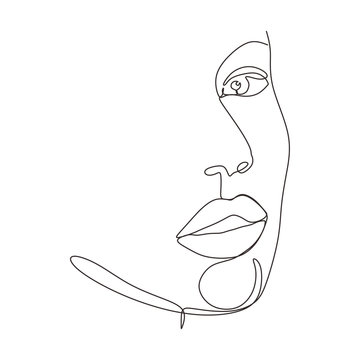 Continuous one line drawing of abstract face minimalism and simplicity vector illustration. Minimalist hand drawn sketch lineart.