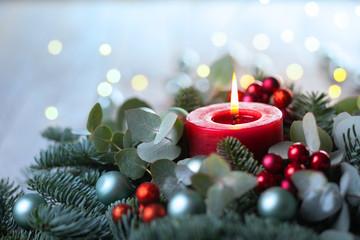 Burning Advent Candle  -  Christmas Still Life  -  Xmas Card