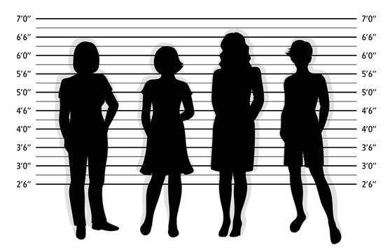 Police lineup. Mugshot background with silhouette of different women.  Black silhouette of four women on white background. Isolation. Vector illustration