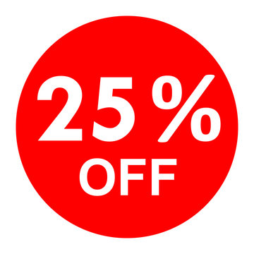 Sale - 25 percent off - red tag isolated - vector