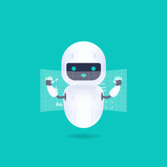White friendly android robot with HUD interface screen. Cute and smile AI robot.