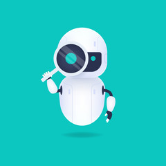White friendly android robot looking through the magnifying glass. Search conceptual.