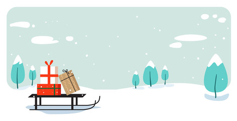 Photo sur Aluminium Bleu clair santa claus sleigh with present box merry christmas happy new year holiday celebration concept greeting card winter snowy landscape background horizontal vector illustration