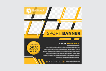 Minimal layout design background vector illustration in black yellow color. Editable square geometric shape banner template for social media post, stories, story, flyer, look book magazine
