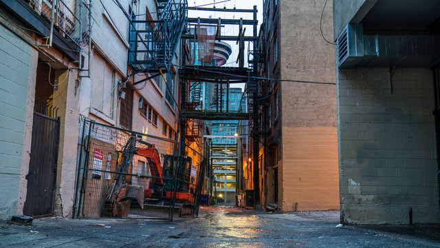 Vancouver, British Columbia - Canada. Empty back alley on one of the streets of Vancouver, British Columbia. Canada.