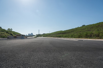 New tarmac road with sky low angle perspective landscape