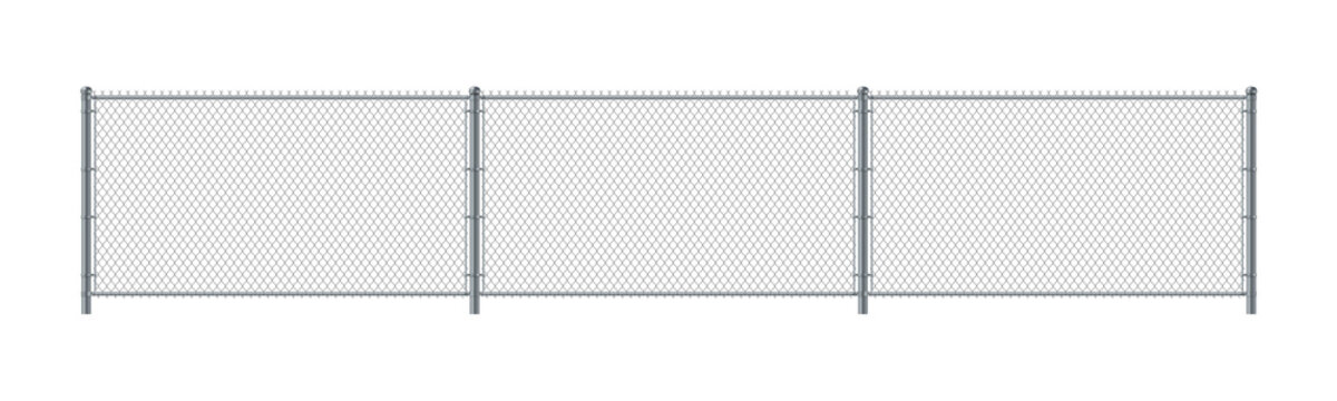 Chain link fence. Metal Wire Fence. Wire grid construction