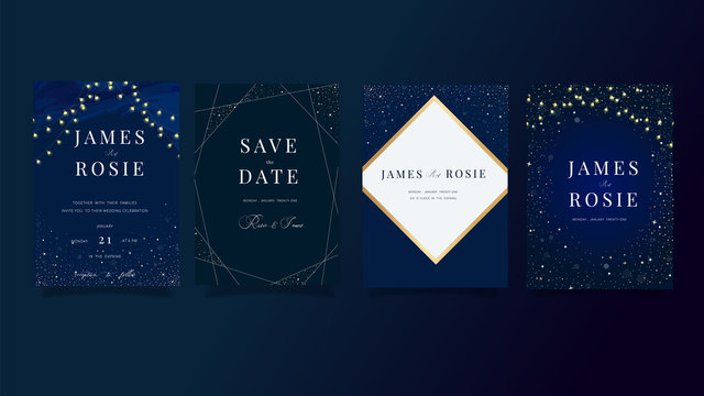 set of navy Blue Universe Wedding Invitation, universe invite thank you, rsvp modern card Design in little star light in the sky, space Vector elegant rustic template