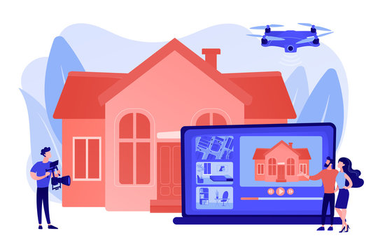 Couple watching house tour. Professional aerial property video. Real estate video tour, real estate marketing, real estate drone video concept. Pinkish coral bluevector isolated illustration