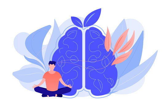 User practicing mindfulness meditation in lotus pose. Mindful meditating, mental calmness and self-consciousness, focusing and releasing stress concept. Vector isolated illustration.