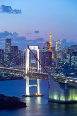 Poster Tokyo Twillight view of Tokyo Bay , Rainbow bridge and Tokyo Tower landmark