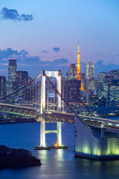 Twillight view of Tokyo Bay , Rainbow bridge and Tokyo Tower landmark