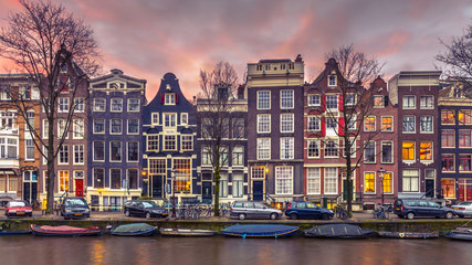 Canal houses on the Brouwersgracht in Amsterdam in vintage toning