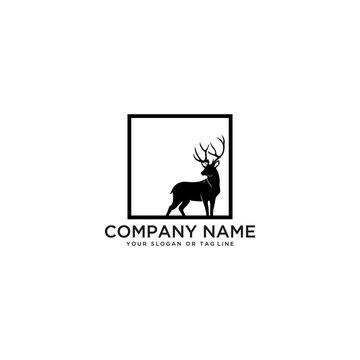 deer logo design vector template white background