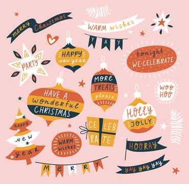 Christmas, new year decor elements with warm wishes in ornamental garlands, balloons and Christmas tree decorations. Vector design for cards or banners.