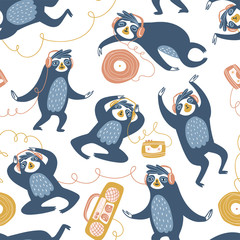 Cool sloths at the party, listening to music, dancing and sleeping. Vector seamless pattern design. Hand drawn cute animals isolated on the white background.