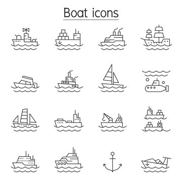 Boat icons set in thin line style