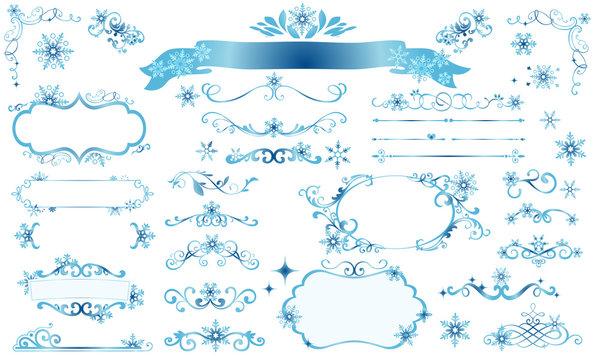 きらきら雪の結晶の冬のフレームイラスト