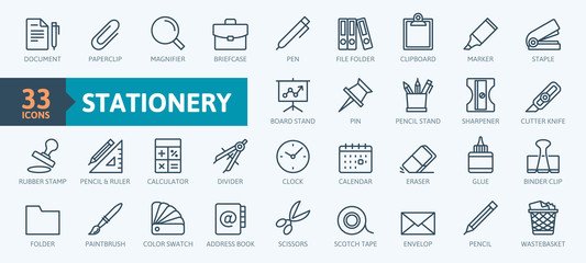 Office stationery - minimal thin line web icon set. Outline icons collection. Simple vector illustration. Fototapete