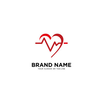concept of logo design heart rate vector template