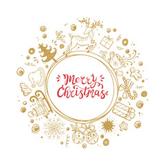 Merry Christmas. Holiday Vector Round Frame of Christmas decorations with hand lettering calligraphic. Xmas greeting Card Template. Happy Winter Holidays poster. Christmas wreath. New Year