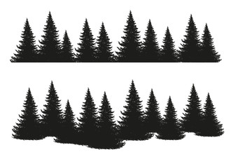 Black silhouettes of conifers isolated on white background. Collection of pines, spruce, larch, cedars. Set of park, forest, landscape elements. Flat stock vector