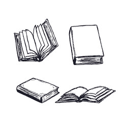 Books hand drawn. Open diary, library textbook with empty pages isolated on white background. Closed notebook or book. Literature reading.