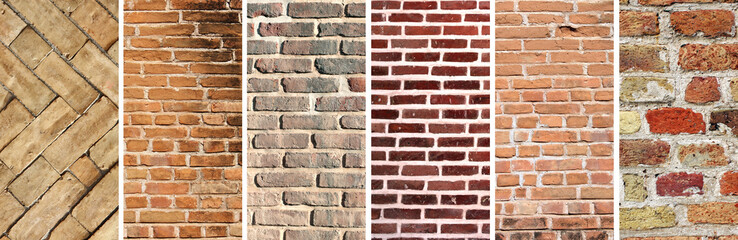 Set of vertical banners with textures of brick walls