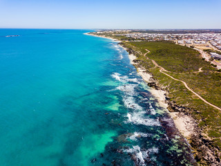 Aerial photograph over Iluka (Burns Beach, Ocean Reef, and Mullaloo) coastline in the northern suburbs of Perth, Western Australia. Aerial of Ocean Reef, Perth.