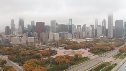 Fototapete - Chicago downtown buildings skyline aerial drone fall foliage