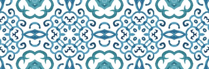 Antique portuguese tiles. Blue Azulejos ceramic. Spanish pottery..Sicily italian majolica. Vintage ethnic background . Mediterranean watercolor seamless wallpaper. Moroccan ornaments in indigo colors