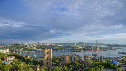 Wall Mural - Vladivostok cityscape, view of the bridges.