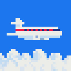 Flying airplane express delivery shipping international transportation concept sky background, pixel art vector illustration. Airplane in sky concept. Game assets. Design for stickers, web and app