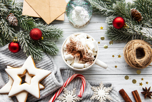 Hot cocoa and Christmas decorations