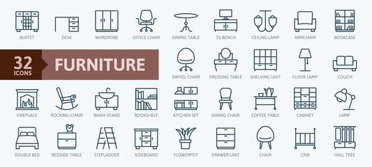 Fototapeta Furniture - minimal thin line web icon set. Outline icons collection. Simple vector illustration. obraz