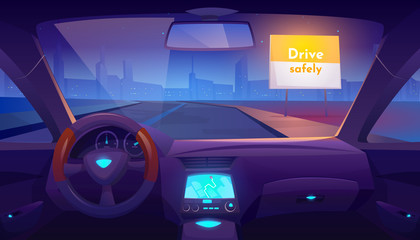 Photo sur Aluminium Cartoon voitures Car interior inside with gps on dashboard and view through windshield on night road and cityscape skyline, drive safely banner on roadside. Empty vehicle salon design. Cartoon vector illustration