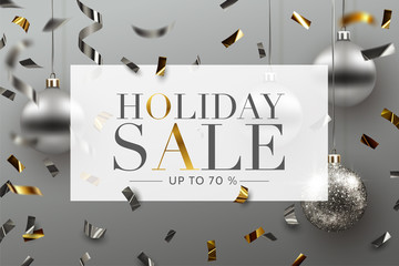 Holiday Sale background, banner, frame, header, or poster design with Confetti and Christmas ornaments. Vector Illustration.