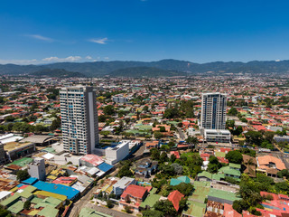 Beautiful aerial view of the town of San Pedro Costa Rica