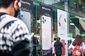 Bangkok, Thailand - October 26, 2019 : Apple iPhone 11 and iPhone 11 Pro advertisement was installed on facade of the building at Siam Square.