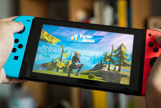 Bangkok, Thailand - October 25, 2019 : Gamer won first place in Battle Royale mode in Fortnite game on Nintendo Switch.