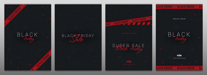 Set of Black Friday banners with red ribbons. Season of Sale.