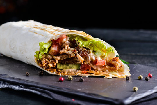 Mexican beef steak burritos with vegetable