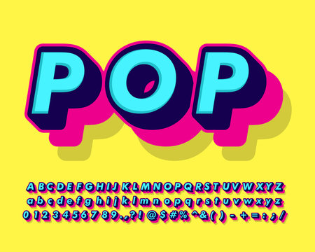 cool fancy pop art text effect with simple color design for pop music and arts, poster banner and flyer design