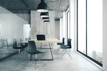 Modern office interior with panoramic city view,