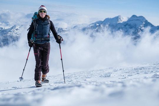 Ski touring winter ascent